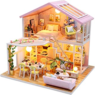 Fsolis DIY Dollhouse Miniature Kit with Furniture, 3D Wooden Miniature House , Miniature Dolls House kit M2001