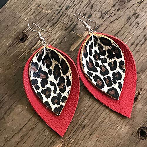 Pendientes Mujer Pendientes De Lágrima De Cuero con Estampado De Leopardo con Purpurina De Doble Capa Pendientes De Hojas Grandes con Estampado Gift-Red_Leopard