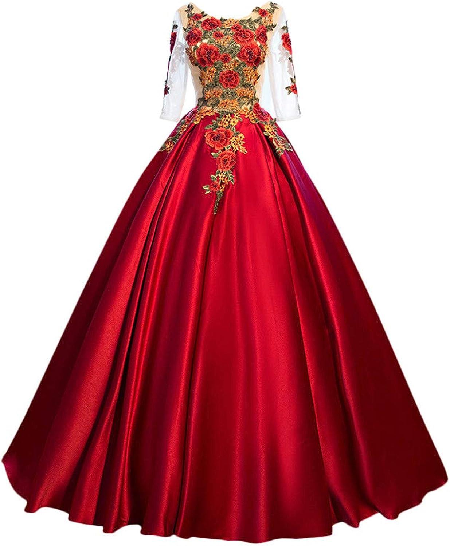 Drasawee Women's Peony Applique Ball Gown Open Back Evening Dresses