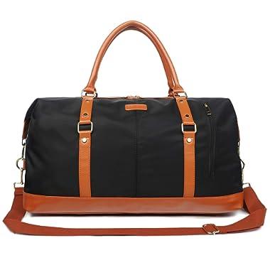 Oflamn Duffle Bag Smooth Nylon Leather Weekender Overnight Travel Carry On Bag (Black)
