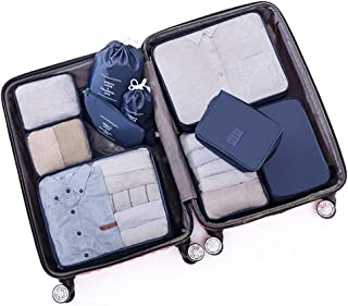 Packing Cubes Waterproof Clothes Storage Bag 10 Set Pouches Laundry Organiser Bags with Shoe Bag for Travel Or Household QDDSP (Color : F)