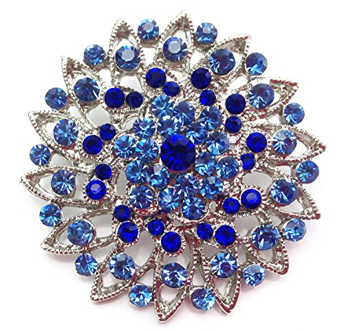 Unbekannt Wunderschöne Kleine Strass Kristall Brosche mit Anstecknadel Blume Blau (BR038)