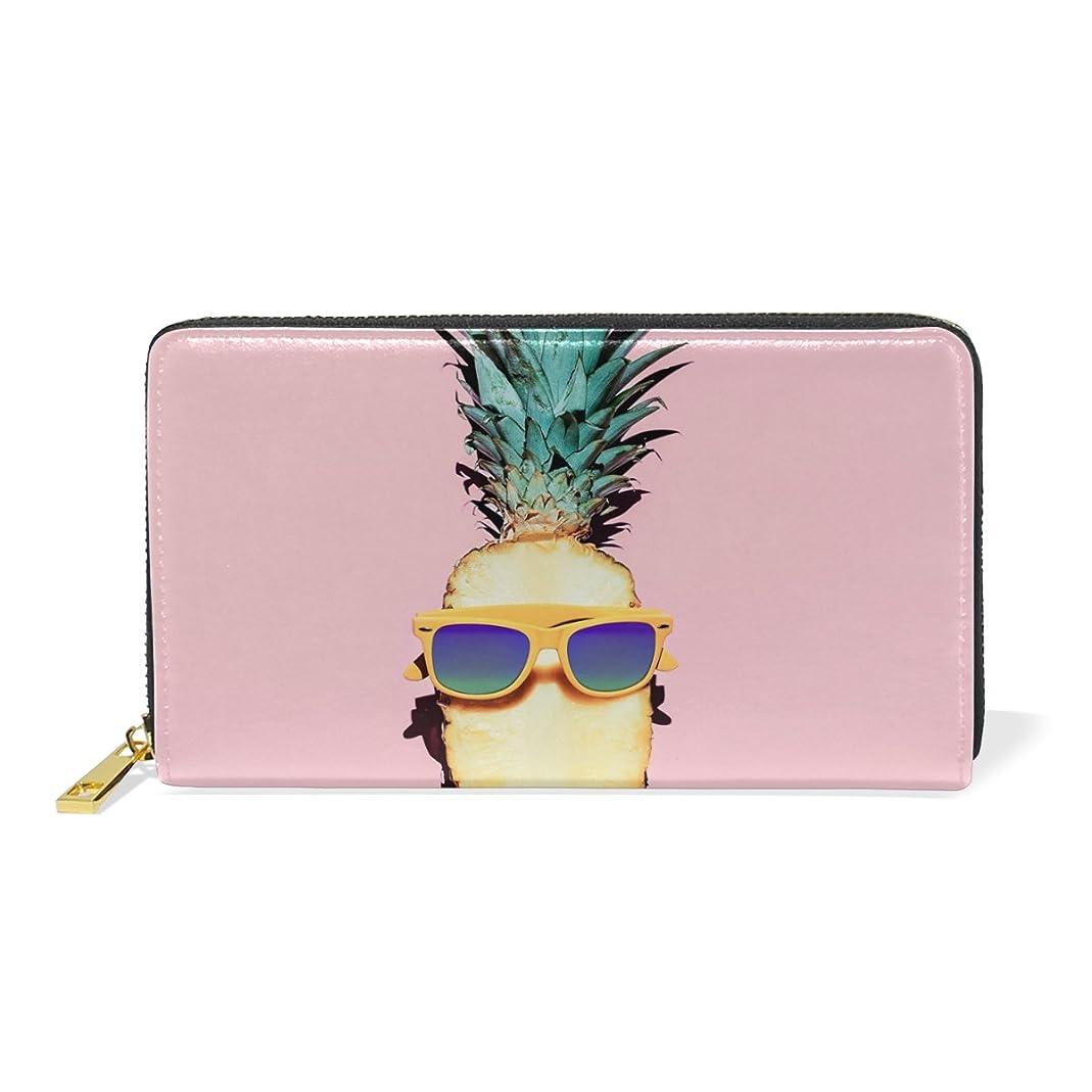 些細ブロッサムやりすぎAOMOKI 財布 長財布 ラウンドファスナー 本革 大容量 通学 通勤 旅行 パイナップル ピンク 眼鏡