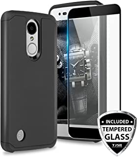 TJS Case for LG Aristo 2/Aristo 2 Plus/Aristo 3/Aristo 3 Plus/Tribute Dynasty/Tribute Empire/Fortune 2/Rebel 3 LTE [Full Coverage Tempered Glass Screen Protector] Hybrid Armor Phone Cover (Black)