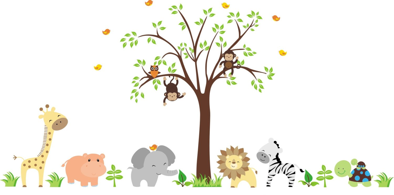 Jungle Themed Wall Decals for Baby shipfree Wildlife Large Anim El Paso Mall - Nursery