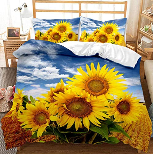 Adult Bedding Set with Duvet Cover, Yellow White Pink Purple Flowers by Sunflower, Chrysanthemum, Plum Flower, Romantic Pink Bedding Set (Double 200 x 200 cm)