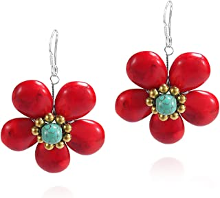 Dainty Reconstructed Red Coral Flower Brass Sterling Silver Earrings