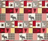 Supellex Stoffmuster zu Ohrensessel »Sofia«, Design Schwedisch-Landhaus Patchwork, Elch, Hirsch, rot (Design-Nr.: 5101)