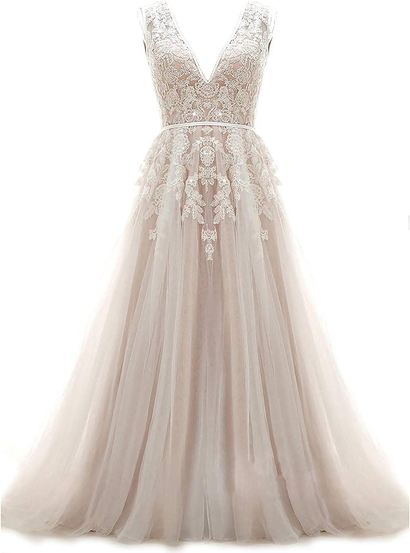 Ruolai A-Line Boho Wedding Dress V Neck Keyhole Back Bridal Gowns