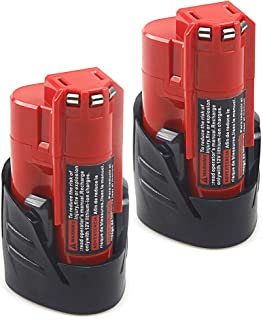 2 Pack Waitley M12 12V 2.5Ah Replacement Battery Compatible with Milwaukee M12 48-11-2401 RED Li-Ion Battery 48-11-2420 48-11-2411 48-11-2440 48-11-2402 Tools