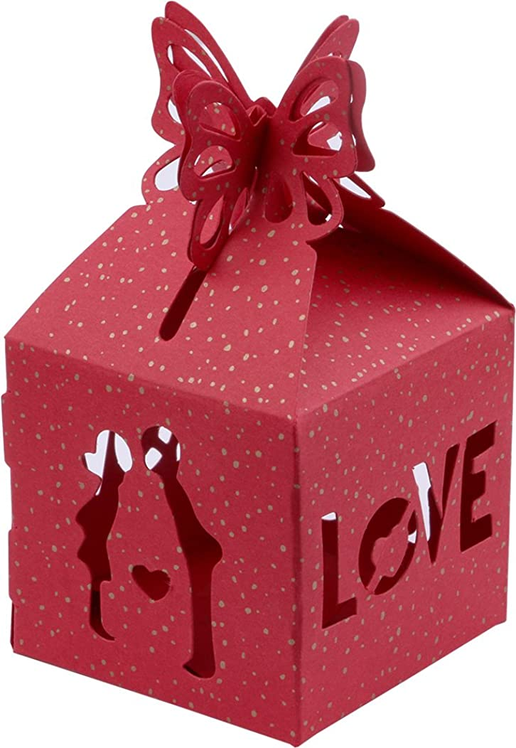 Driew Wedding Candy Box Pack of 50, 2x2x3.7 Inches Hollow Ribbon Bridegroom & Bride Love Birds Pattern Gift Wrap Decorative Boxes Style#9