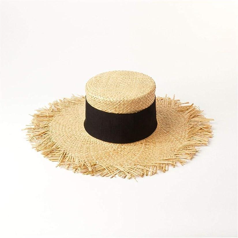 作る帆勤勉春と夏の手編みの大きな縁取り高フラットトップラフィット麦わら帽子屋外旅行日焼け止め日焼け止めビーチ麦わら帽子