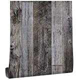17.7 in x 118 in Grey Wood Wallpaper Stick and...