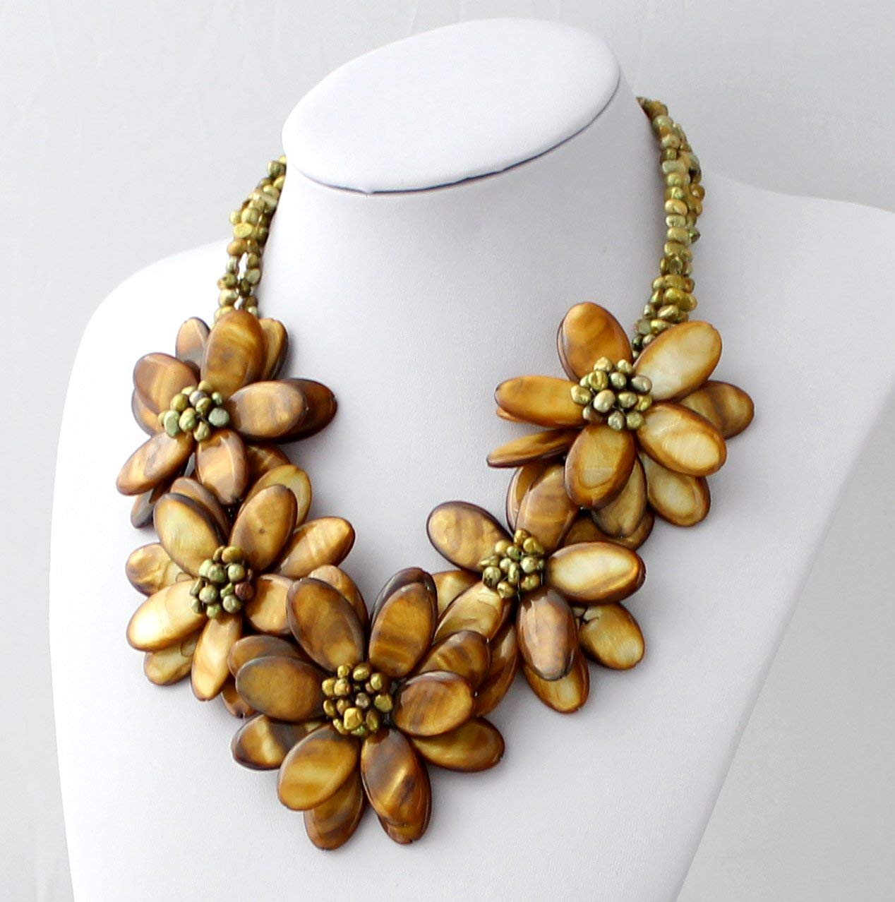 Hand-woven Natural Pearl Mop Shell Flower Brida Max 86% OFF Wedding Necklace Some reservation