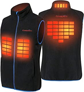 CONQUECO Men's Heated Vest Soft and Cozy Fleece Vest with Battery Pack