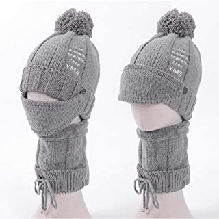 Women's Autumn and Winter Plus Velvet Knitted Wool hat Scarf mask Three-Piece Bicycle Protective face Solid Color Cap WZXSMDY (Color : Gray, Size : 56-58cm)