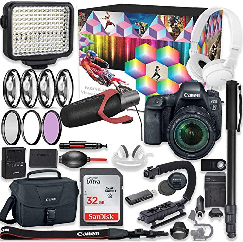 Canon EOS 6d Mark II DSLR Camera Premium Video Creator Kit with Canon 24-105mm STM Lens + Sony Monitor Series Headphones + Video LED Light + 32gb Memory + Monopod + High End Accessory Bundle