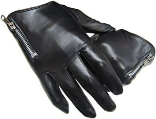 Emma home Winter Mens Thin Leather Gloves Black with Zipper Winter Outdoor Gloves