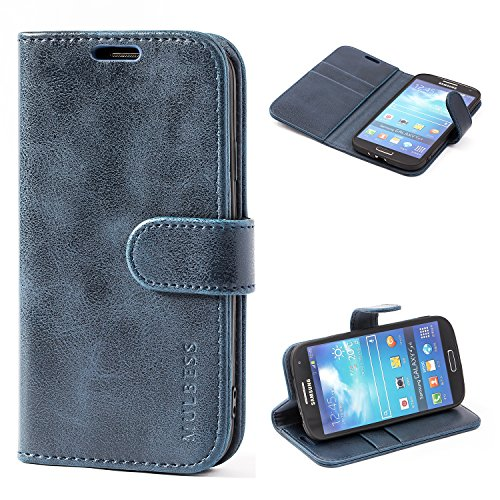 Mulbess Cover per Samsung Galaxy S4, Custodia Pelle con Magnetica per Samsung Galaxy S4 [Vinatge Case], Blu Navy