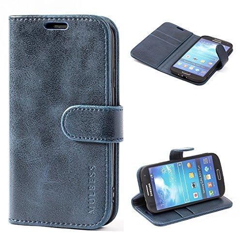 Mulbess Funda Samsung Galaxy S4 [Libro Caso Cubierta] [Vintage de Billetera Cuero de la PU] con Tapa Magnética Carcasa para Samsung Galaxy S4 Case, Azul Marino