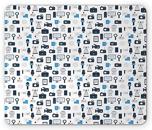 Alfombrilla de ratón Azul y Blanca, Periodismo Medios de comunicación Tema de comunicación Prensa TV Noticias, Alfombrilla de Goma Rectangular Antideslizante Azul pálido - 9.5x7.9 Inch
