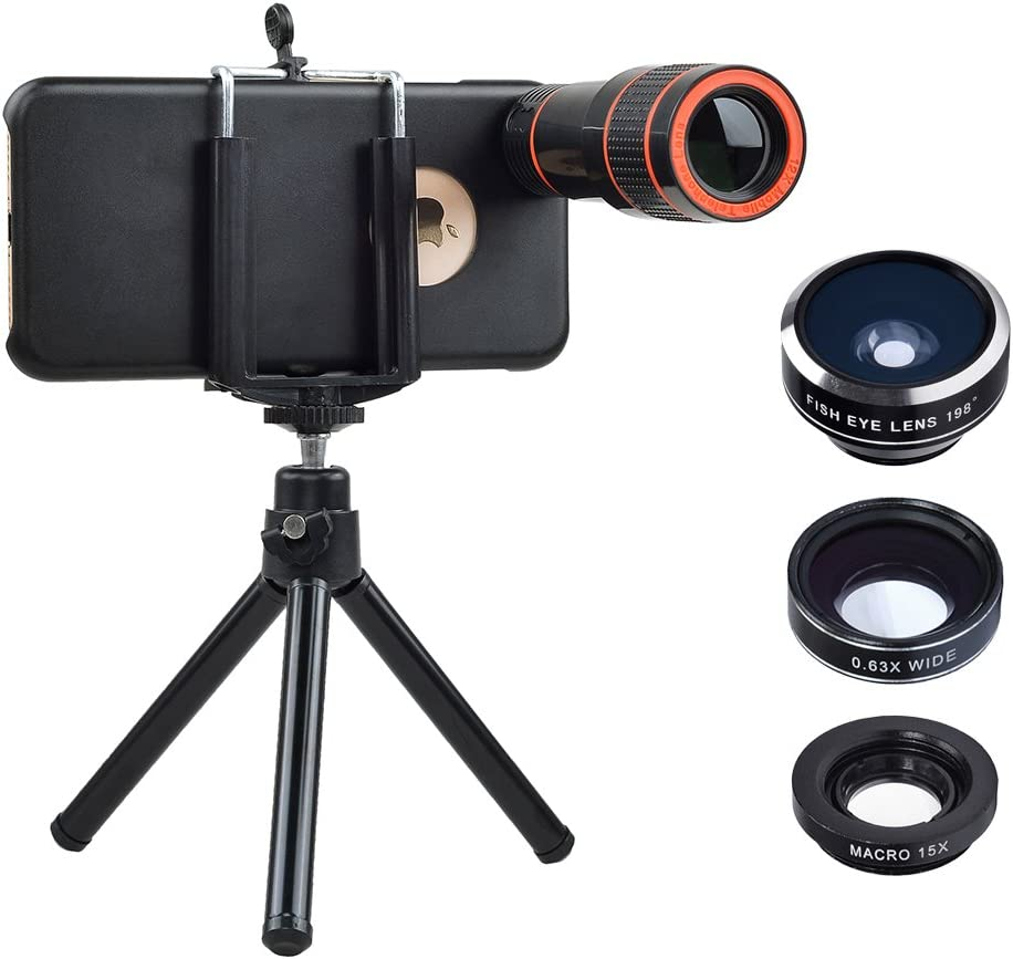 Apexel Optical Phone Camera Lens Kit 12X Manual Focus Telescope Camera Lens and Wide//Fisheye//Macro Lens with for Samsung Galaxy S6 Edge