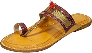 KALAPURI Ladies Comfortable Kolhapuri Chappal in Export Quality Genuine Leather with Brown Pointed Shape Base and Traditio...