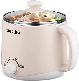 Dezin Electric Hot Pot, Rapid Noodles Cooker, Stainless Steel Mini Pot Perfect for Ramen, Egg, Pasta, Dumplings, Soup, Porridge, Oatmeal with Temperature Control and Keep Warm Feature, 1.6L, Beige
