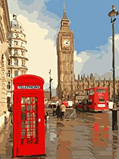 Paint by Numbers for Adults Beginners, eniref Oil Painting for Adults Kids Paint by Number,Acrylic Pigment - London Street...