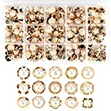 150 Piece Assorted Pearl Buttons with Shank Cover Up, 15 Types Resin White Pearl Shank Button for Crafts, Clothes, Wedding Dress, Storage Box Included