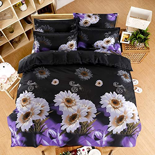 WEDSGTV Inky Floral Grey Duvet Cover And Pillowcases Bedding Set 3d Effect Bedding Complete Set 1 Duvet Cover 2 Pillow Cases,B-Single140x210cm