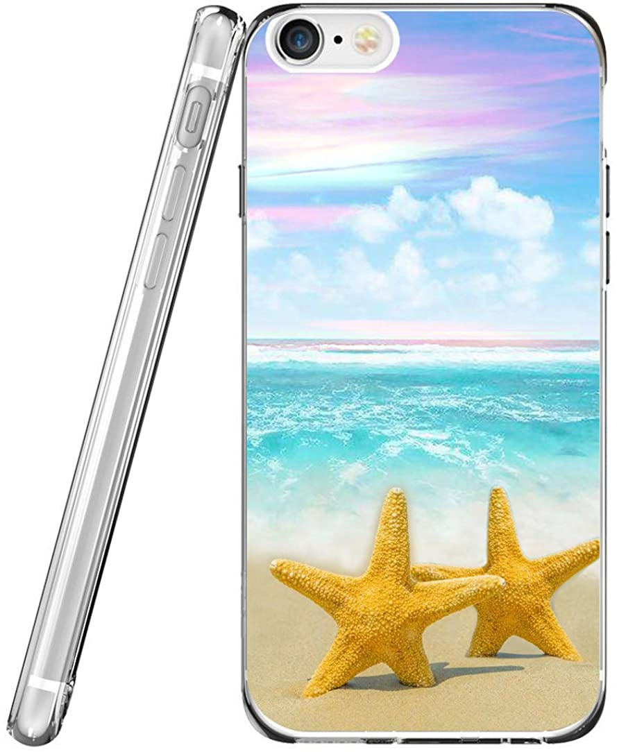 Case for Phone 6S Plus TPU & Protector for Phone 6 Plus & MUQR Flexible Gel Silicone Slim Drop Proof Protection Cover Compatible with iPhone 6 Plus/6S Plus & Starfish Beach