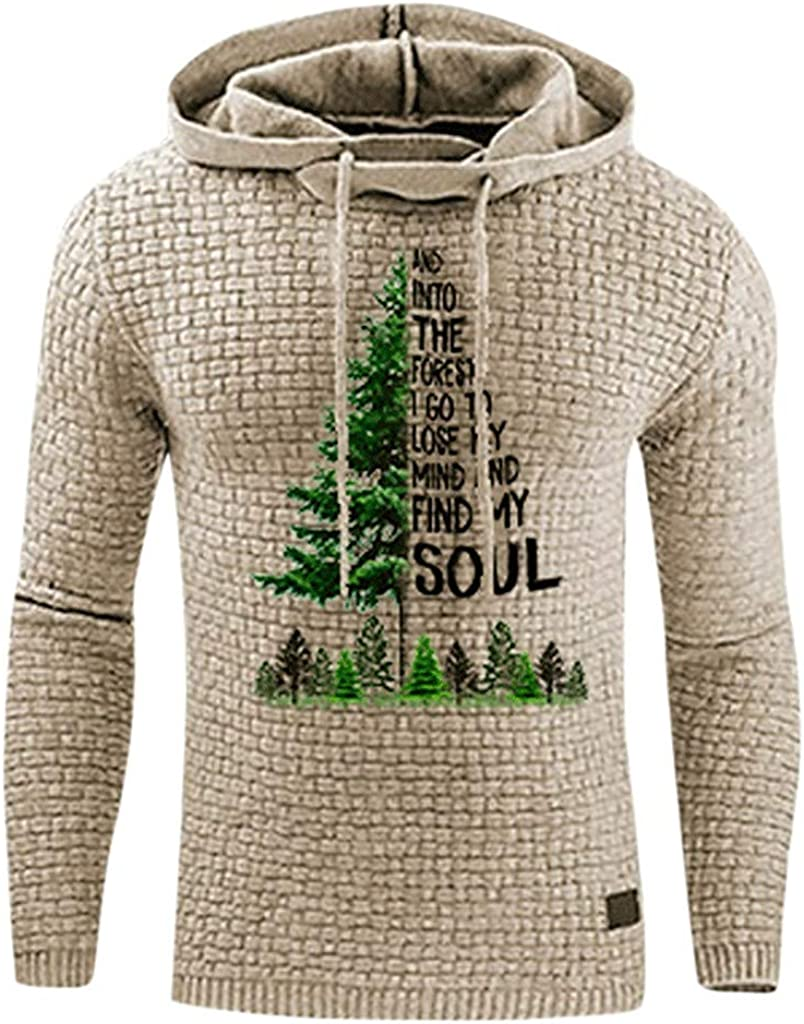Holzkary Fashion Christmas Print Hoodie Long Sleeve Drawstring Sweatshirt Tops with Pocket for Men
