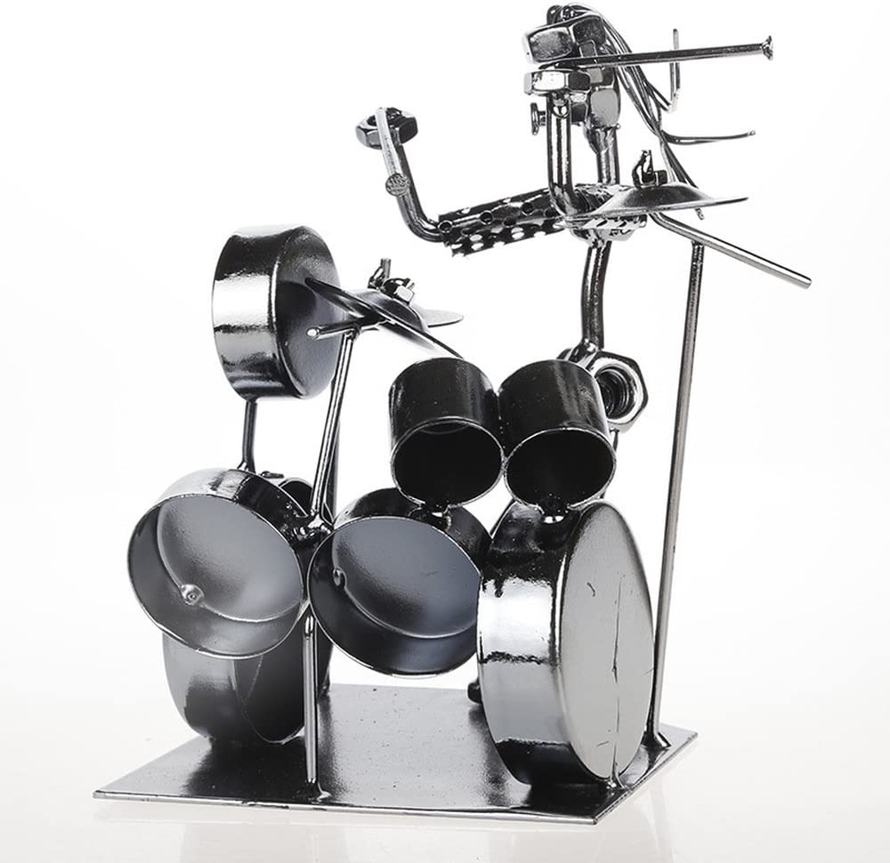 TLMYDD Tambor Adornos de Hierro música Decorativa Retro Viento Jazz Baterista Regalo Modelo artesanías de Juguete 19 cm X 11 cm X 19 cm Adornos