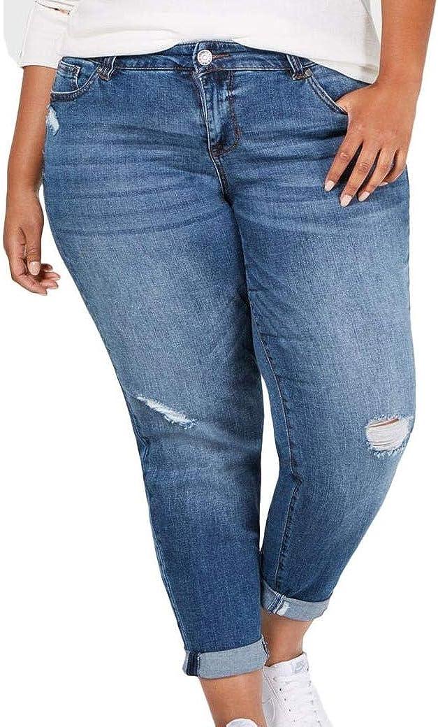 Celebrity Pink Womens Plus Dark Wash Denim Girlfriend Jeans Blue 22
