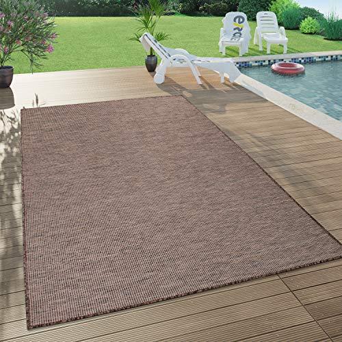 Paco Home In- & Outdoor-Teppich Für Wohnzimmer, Balkon, Terrasse, Flachgewebe In Braun, Grösse:140x200 cm