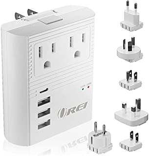 World Travel Plug Adapter M8 Max by Orei - 3 USB + Pd 18W USB-C Input - 2 USA Outlets - Attachments for Europe, Asia, China, Japan, Africa - Perfect for Cell Phones, Tablets, Cameras and More