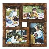 """SONGMICS Collage di Cornici per 4 Foto, per 10 x 15 cm (4"""" x 6""""), Pannello di Vetro, Galleria per Esposizione Foto a Parete, Display per Galleria Fotografica a Parete, Marrone Vintage RPF025X01"""