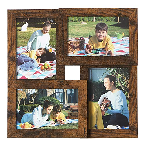 SONGMICS Collage de 4 Marcos para Fotos de 10 x 15 cm, Portafotos de Madera con Vidrio, Colgar en la Pared, para Hogar, Oficina, Galería, Marrón Rústico RPF025X01