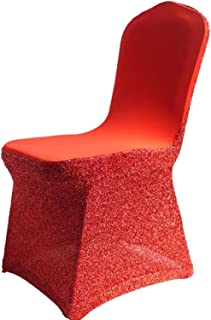 KKONION Silver Lycra Spandex Glitter Chair Cover Elastic Stretch Sequin for Hotel Banquet Wedding Chair Cover