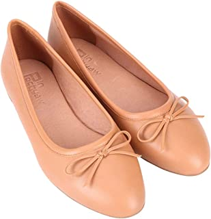Pinpochyaw Ballet Flats for Women Slip On Flat Leather Shoes with Bows