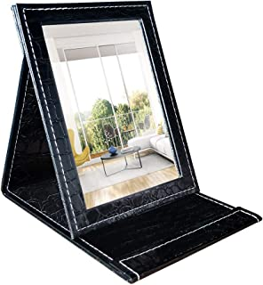 Artsay Folding Mirror with Stand Portable Makeup Vanity Mirrors for Desk Table Top, Glass Mirror, Black