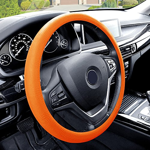 TLH Snake Pattern Silicone Steering Wheel Cover, Orange Color