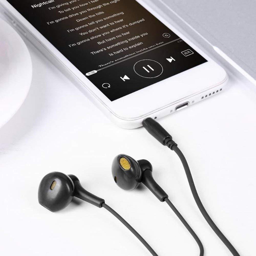 Mouchao K38 3,5-mm-Schnittstelle Kabelsteuerung Universal-Kopfh/örer Mobiltelefon-Headset schwarz