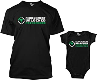 Tcombo Achievement Unlocked Fatherhood/New Character Matching Bodysuit & Men's T-Shirt