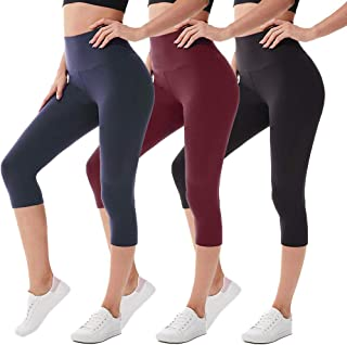 we fleece High Waisted Capri Leggings for Women - Tummy Control Workout Yoga Pants Athletic Sport 1/2/3 Pack Women's Leggings