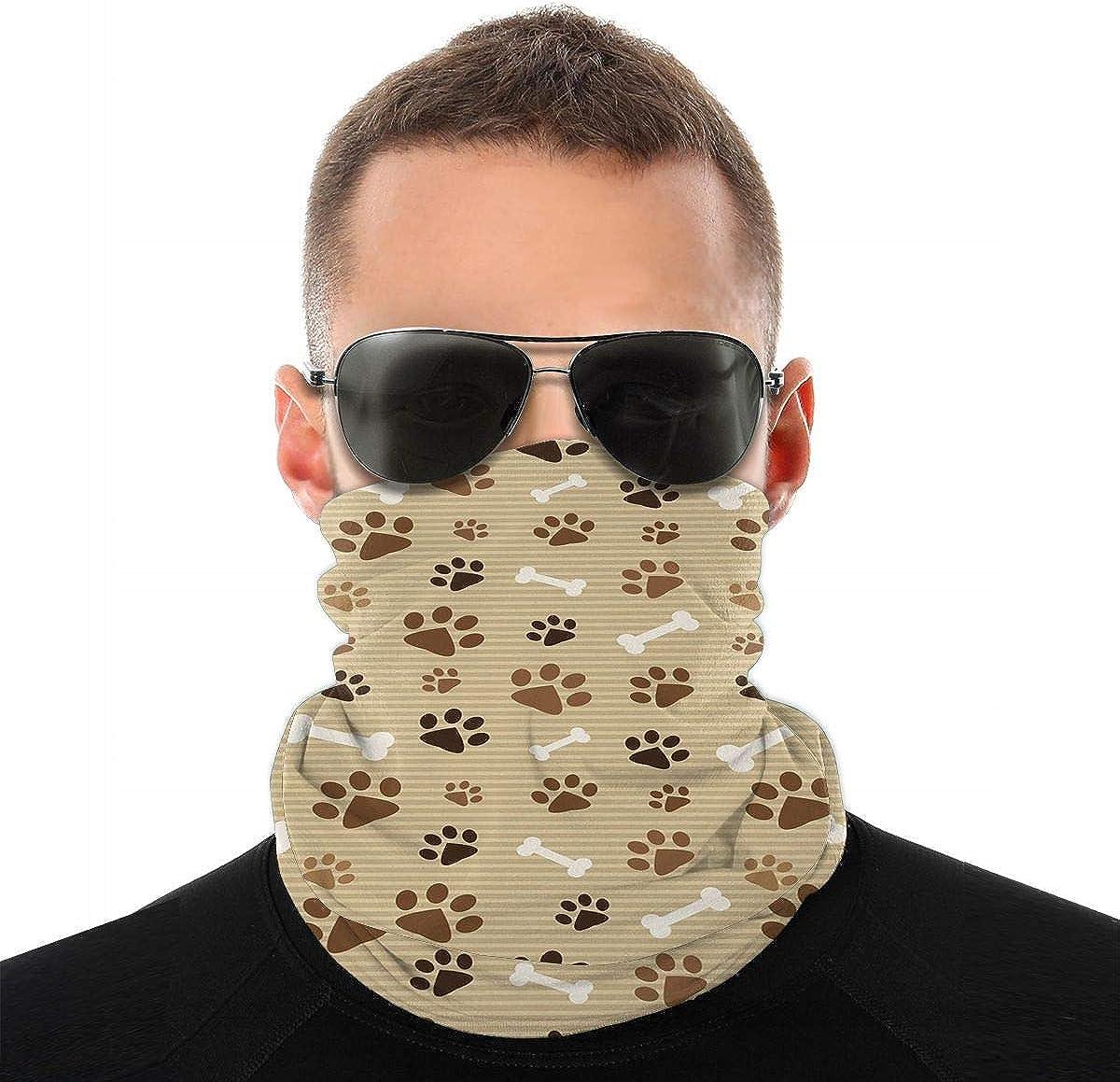KiuLoam Animal Dog Paw Print Seamless Face Mask Bandanas Neck Gaiter for Men and Women, Multifunction Headband Scarf for Dust, Outdoors, Sports