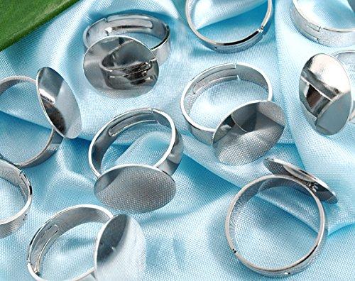Ecloud Shop 10 PCS Art und Weisering justierbarer überzogener silberner Ring mit unbelegter Unterseite 16mm
