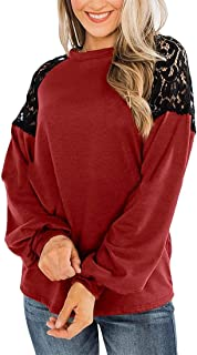Loyomobak Women's Tops O-Neck Lace Patchwork Long Sleeve Tee Blouse