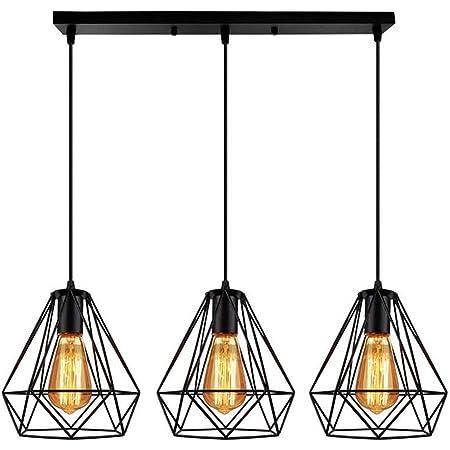 Retro Métal Luminaire Lustre Suspensions Plafonnier Industriel Vintage Style Noir Créatif Metal Suspensions Luminaire cage Eclairage Lampe Plafonnier Luminaire Grenier café salon E27*3 (F)
